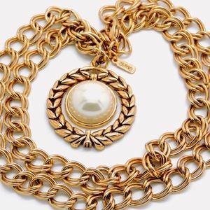 Vintage Alfred Sung gold plated pearl necklace